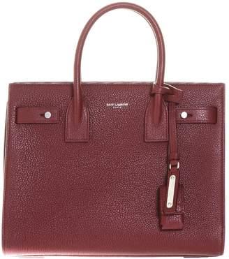 Saint Laurent Small Sac De Jour Souple Bag In Dark Red Grained Leather