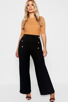 boohoo Plus Horn Button Wide Leg Jersey Pants
