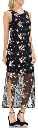 Vince Camuto Tropical Embroidered Mesh Overlay Dress