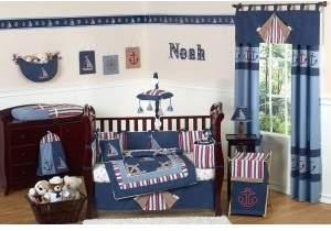 JoJo Designs Sweet Nautical Nights Boys Sailboat Toddler Bedding 5 pc set