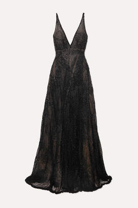 Costarellos Beaded Tulle Gown - Black