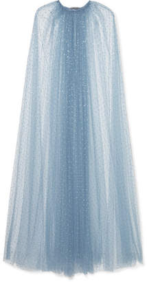 Monique Lhuillier Crystal-embellished Tulle Cape - Sky blue
