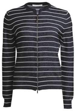 Fabiana Filippi Zip-Up Striped Cashmere Cardigan