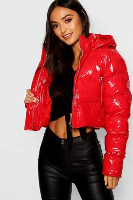 boohoo Petite Hooded Crop High Shine Coat