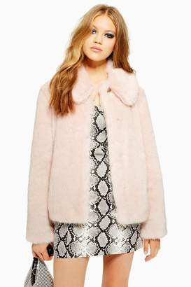 Topshop Womens Luxe Faux Fur Coat - Pink
