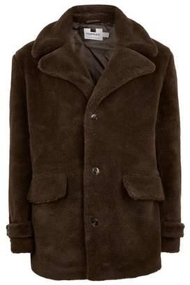 Topman Mens Brown Faux Fur Pea Coat