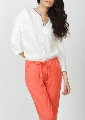 Indi \u0026 cold Indi And Cold Knitted Trim Blouse White
