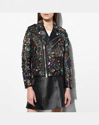 Coach Moto Jacket With Leather Sequins