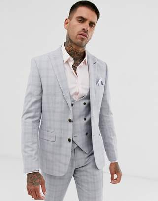 06a8ffabbf01 Harry Brown slim fit light grey check suit jacket