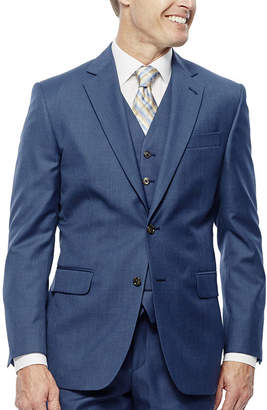 STAFFORD Stafford Travel Wool Blend Stretch Mid Blue Slim Fit Suit Jacket