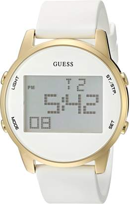 GUESS Women's U0815L1 Gold-Tone Multi-Function Digital Watch on White Silicone Strap