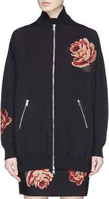 Alexander McQueen Rose tapestry knit oversized bomber jacket