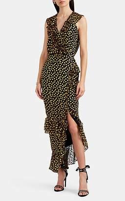 Saloni Women's Anita Ruffle Dot-Pattern Silk-Blend Dress - Black