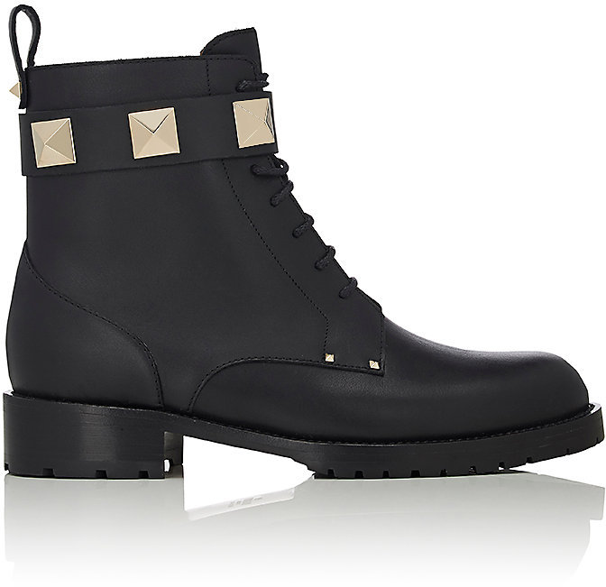 Valentino Women's Rockstud Leather Combat Ankle Boots