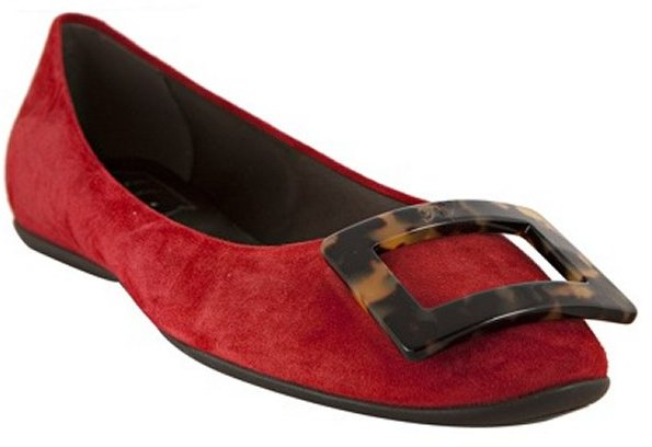 Roger Vivier red suede buckle detail flats