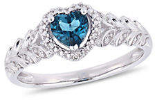 CONCERTO 14K White Gold and Topaz Halo Ring with 0.06 TCW Diamond