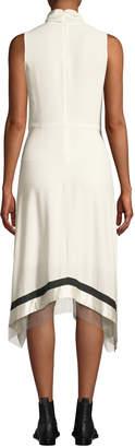 3.1 Phillip Lim Twist-Front Embellished Silk Sleeveless Dress with Chain Fringe