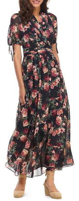 Gal Meets Glam Ashlynn Floral Print Chiffon Maxi Dress