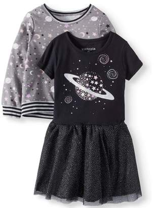 KidTopia Toddler Girl's French Terry Popover Top and Short Sleeve Dress 2-in-1 Outfit Set