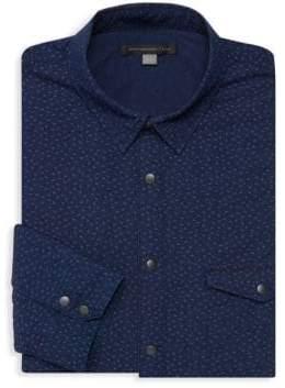 John Varvatos Printed Cotton Button-Down Shirt