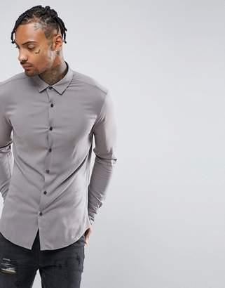 Asos DESIGN Skinny Viscose Shirt In Gray