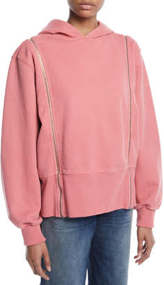Tre by Natalie Ratabesi Longline Boxy Cotton Hoodie with Zip-Off Sleeves