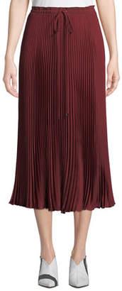 Tibi Mendini Pleated Twill Midi Skirt