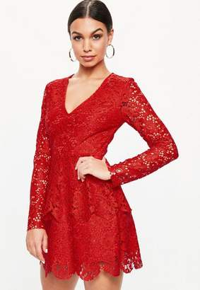 Missguided Red Lace Plunge Frill Layer Skater Dress