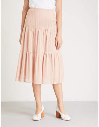 See by Chloe Tiered cotton-blend skirt