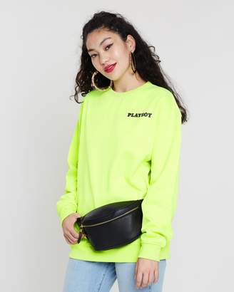 Missguided Playboy Magazine Slogan Back Detail Sweatshirt