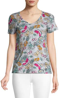 Lord & Taylor Petite Short Sleeve V-Neck Printed Slub Tee