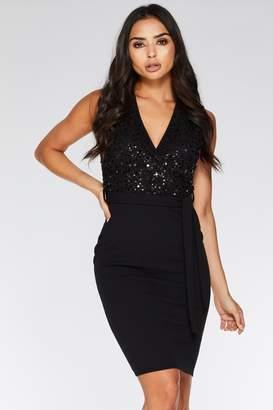 Quiz Black Sequin Wrap Front Midi Dress
