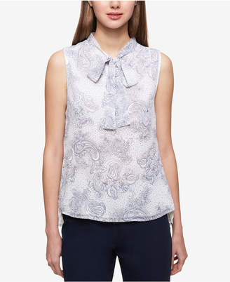 Tommy Hilfiger Paisley-Print Tie-Neck Shell