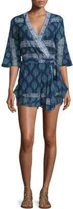 NICHOLAS Ruffle Wrap-Front Romper, Temple Print $445 thestylecure.com