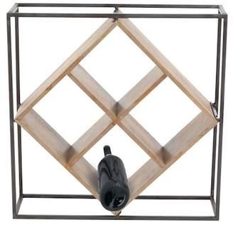 UMA Black/Brown Metal Wood Wine Rack