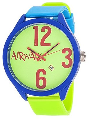 Airwalk アナログGreen Dial withブルーandグリーンストラップ腕時計