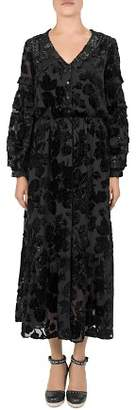 The Kooples Black Magic Flocked Velvet Dress