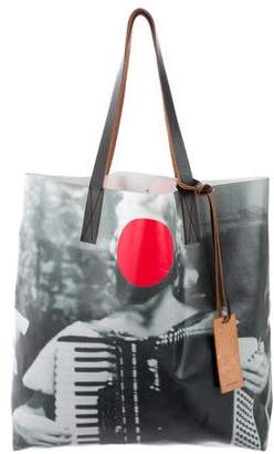 Marni Leather-Trimmed Coated Canvas Tote