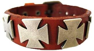 Hera Brown Leather Rock Punk Cross Belt Buckle Leather Wrap Bracelet