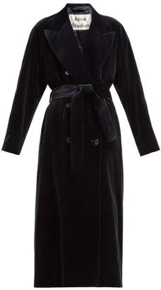 Acne Studios Double Breasted Velvet Robe Coat - Womens - Navy
