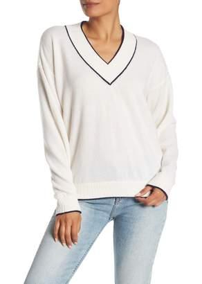 Minnie Rose V-Neck Cashmere Knit Sweater Top
