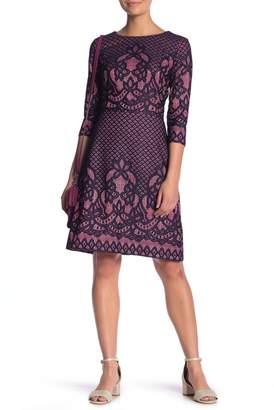 Gabby Skye 3\u002F4 Sleeve Print Dress