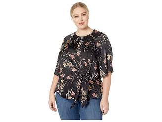 Vince Camuto Specialty Size Plus Size Bell Sleeve Tie Front Floral Soire Keyhole Blouse