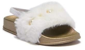 Nicole Miller Faux Fur Jeweled Slide Sandal (Toddler)