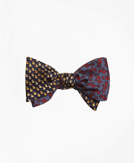Brooks Brothers Apple and Squirrel Motif Reversible Bow Tie