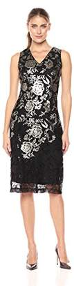 Donna Ricco Women's Sequin Embroidered V Neck
