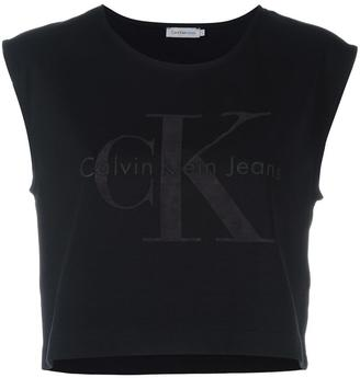 Calvin Klein Jeans logo cropped tank top $71.76 thestylecure.com