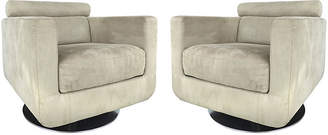 One Kings Lane Vintage Natuzzi Salotti Swivel Club Chairs - Set of 2