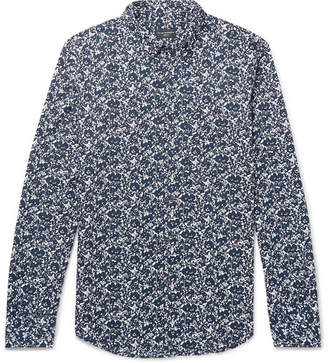 Club Monaco Shadow Slim-Fit Button-Down Collar Printed Cotton-Poplin Shirt