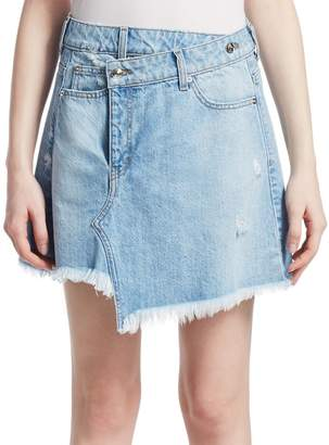 Derek Lam Cleo Faux-Wrap Denim Mini Skirt